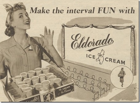 1956, advert, Eldorado, ice cream, food, sepia photo, cinema