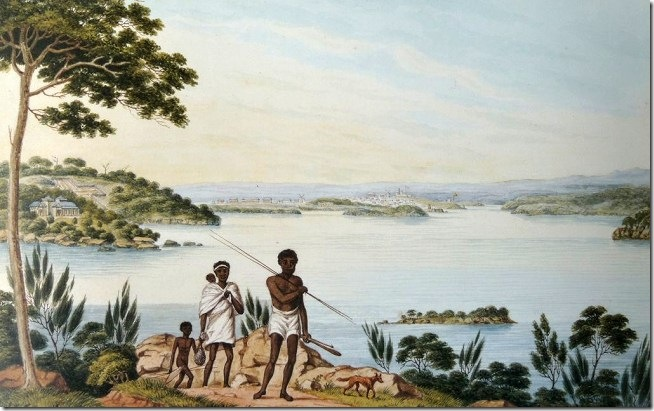C 359 Joseph Lycett's painting of Natives and the North Shore of Sydney Harbour, courtesy of Mitchell Library.lightbox